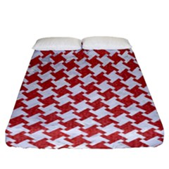 Houndstooth2 White Marble & Red Denim Fitted Sheet (california King Size) by trendistuff
