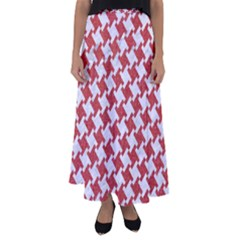 Houndstooth2 White Marble & Red Denim Flared Maxi Skirt by trendistuff