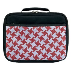 Houndstooth2 White Marble & Red Denim Lunch Bag by trendistuff