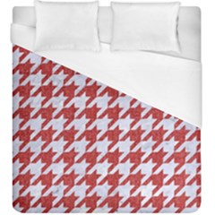 Houndstooth1 White Marble & Red Denim Duvet Cover (king Size) by trendistuff
