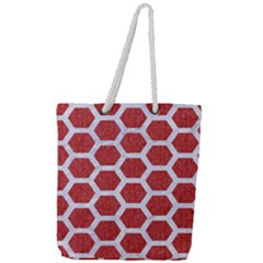 Hexagon2 White Marble & Red Denim Full Print Rope Handle Tote (large) by trendistuff