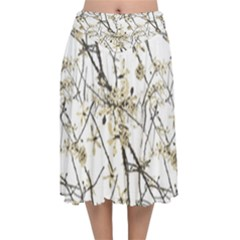 Nature Graphic Motif Pattern Velvet Flared Midi Skirt by dflcprints