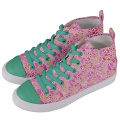 Flower Of Life Paint Pattern 9 Women s Mid Top Canvas Sneakers by Cveti