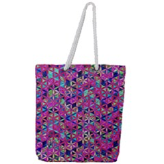 Flower Of Life Paint Pattern 10 Full Print Rope Handle Tote (large) by Cveti
