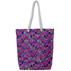 Flower Of Life Paint Pattern 10 Full Print Rope Handle Tote (small) by Cveti