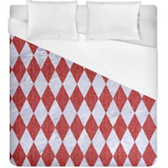 Diamond1 White Marble & Red Denim Duvet Cover (king Size) by trendistuff