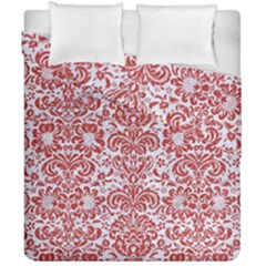 Damask2 White Marble & Red Denim (r) Duvet Cover Double Side (california King Size) by trendistuff