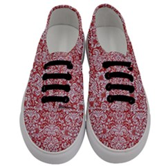 Damask2 White Marble & Red Denim Men s Classic Low Top Sneakers