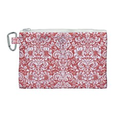 Damask2 White Marble & Red Denim Canvas Cosmetic Bag (large) by trendistuff