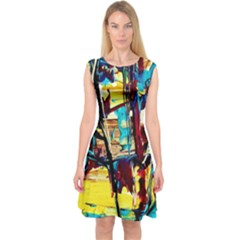 Dance Of Oil Towers 4 Capsleeve Midi Dress by bestdesignintheworld