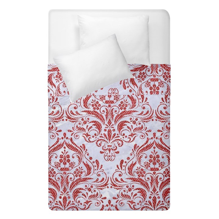 DAMASK1 WHITE MARBLE & RED DENIM (R) Duvet Cover Double Side (Single Size)