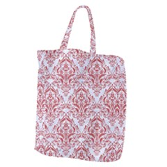 Damask1 White Marble & Red Denim (r) Giant Grocery Zipper Tote by trendistuff