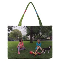 19688418 10155446220129417 1027902896 O   Walking With Daughter And Dog Zipper Medium Tote Bag