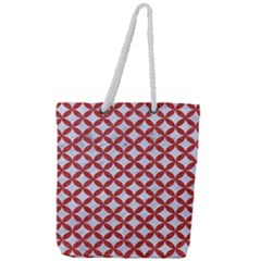 Circles3 White Marble & Red Denim (r) Full Print Rope Handle Tote (large) by trendistuff
