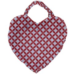 Circles3 White Marble & Red Denim (r) Giant Heart Shaped Tote by trendistuff