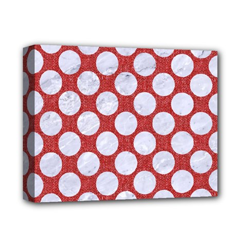 Circles2 White Marble & Red Denim Deluxe Canvas 14  X 11  by trendistuff