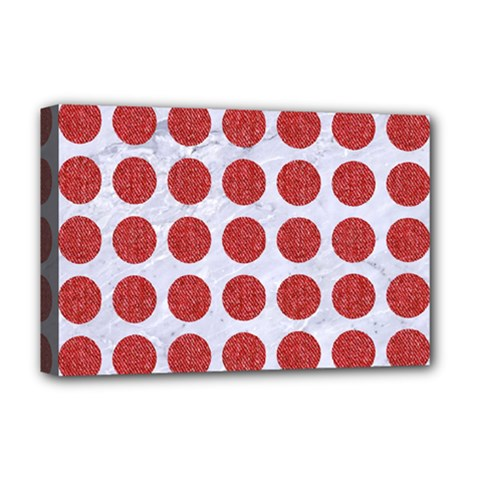 Circles1 White Marble & Red Denim (r) Deluxe Canvas 18  X 12   by trendistuff
