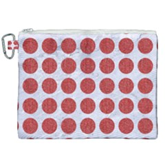 Circles1 White Marble & Red Denim (r) Canvas Cosmetic Bag (xxl) by trendistuff