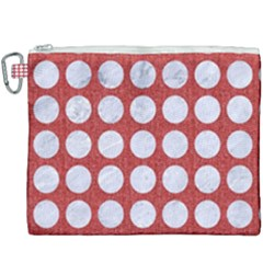 Circles1 White Marble & Red Denim Canvas Cosmetic Bag (xxxl) by trendistuff