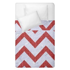 Chevron9 White Marble & Red Denim (r) Duvet Cover Double Side (single Size) by trendistuff
