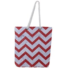 Chevron9 White Marble & Red Denim (r) Full Print Rope Handle Tote (large) by trendistuff