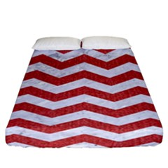 Chevron3 White Marble & Red Denim Fitted Sheet (california King Size) by trendistuff