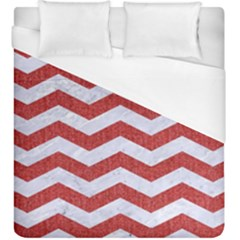 Chevron3 White Marble & Red Denim Duvet Cover (king Size) by trendistuff