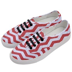 Chevron3 White Marble & Red Denim Women s Classic Low Top Sneakers by trendistuff