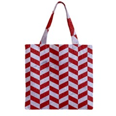 Chevron1 White Marble & Red Denim Zipper Grocery Tote Bag by trendistuff
