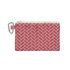 Brick2 White Marble & Red Denim Canvas Cosmetic Bag (small) by trendistuff