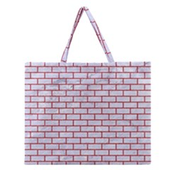 Brick1 White Marble & Red Denim (r) Zipper Large Tote Bag by trendistuff
