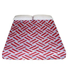 Woven2 White Marble & Red Colored Pencil (r) Fitted Sheet (california King Size) by trendistuff