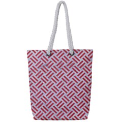 Woven2 White Marble & Red Colored Pencil (r) Full Print Rope Handle Tote (small) by trendistuff