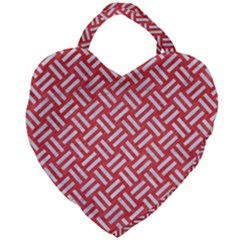 Woven2 White Marble & Red Colored Pencil Giant Heart Shaped Tote by trendistuff