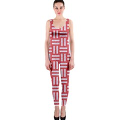 Woven1 White Marble & Red Colored Pencil One Piece Catsuit