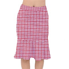 Woven1 White Marble & Red Colored Pencil Mermaid Skirt
