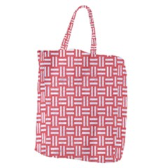 Woven1 White Marble & Red Colored Pencil Giant Grocery Zipper Tote by trendistuff