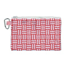 Woven1 White Marble & Red Colored Pencil Canvas Cosmetic Bag (large) by trendistuff