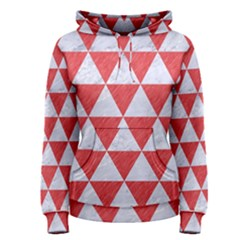 Triangle3 White Marble & Red Colored Pencil Women s Pullover Hoodie