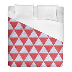 Triangle3 White Marble & Red Colored Pencil Duvet Cover (full/ Double Size) by trendistuff