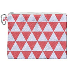 Triangle3 White Marble & Red Colored Pencil Canvas Cosmetic Bag (xxl) by trendistuff