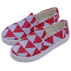 Triangle2 White Marble & Red Colored Pencil Kids  Canvas Slip Ons by trendistuff