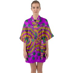 Peacock Flowers Ornate Decorative Happiness Quarter Sleeve Kimono Robe by pepitasart