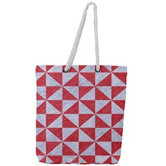 Triangle1 White Marble & Red Colored Pencil Full Print Rope Handle Tote (large) by trendistuff