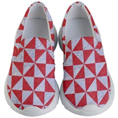 Triangle1 White Marble & Red Colored Pencil Kid s Lightweight Slip Ons by trendistuff