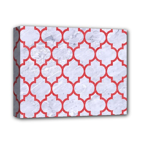 Tile1 White Marble & Red Colored Pencil (r) Deluxe Canvas 14  X 11  by trendistuff