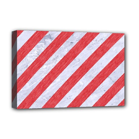 Stripes3 White Marble & Red Colored Pencil (r) Deluxe Canvas 18  X 12   by trendistuff