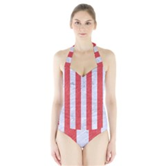 Stripes1 White Marble & Red Colored Pencil Halter Swimsuit by trendistuff