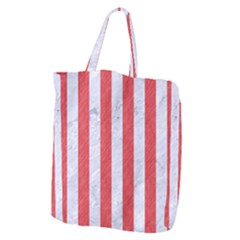 Stripes1 White Marble & Red Colored Pencil Giant Grocery Zipper Tote by trendistuff
