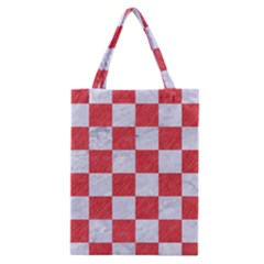 Square1 White Marble & Red Colored Pencil Classic Tote Bag